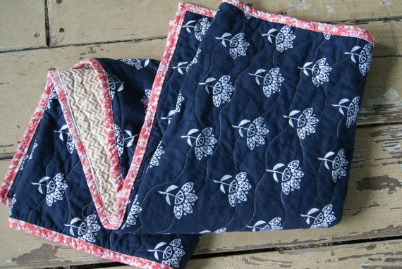 Modern Baby Quilt or Blanket / Navy Blue Gold by QuirkyQuiltress