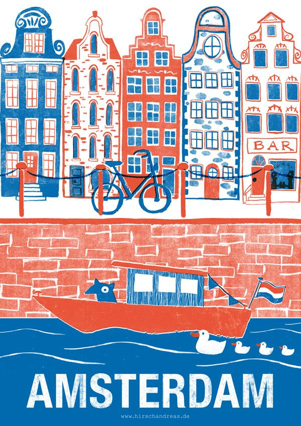 Great drawing of Amsterdam by German artist Andreas Hirsch. #greetingsfromnl