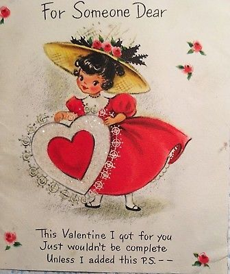 Vintage Mid Century Valentine Greeting Card Girl In Red Dress Glittered Heart