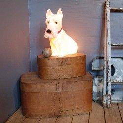 Lampe chien Scottish Terrier blanc