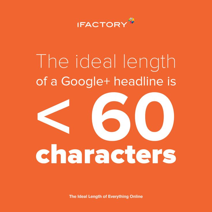 The ideal length of a Google + headline is <60 characters. #ifactory #ifactorydigital #socialmedia #google+ #ideallength #brisbane #webdesign #digitalmarketing