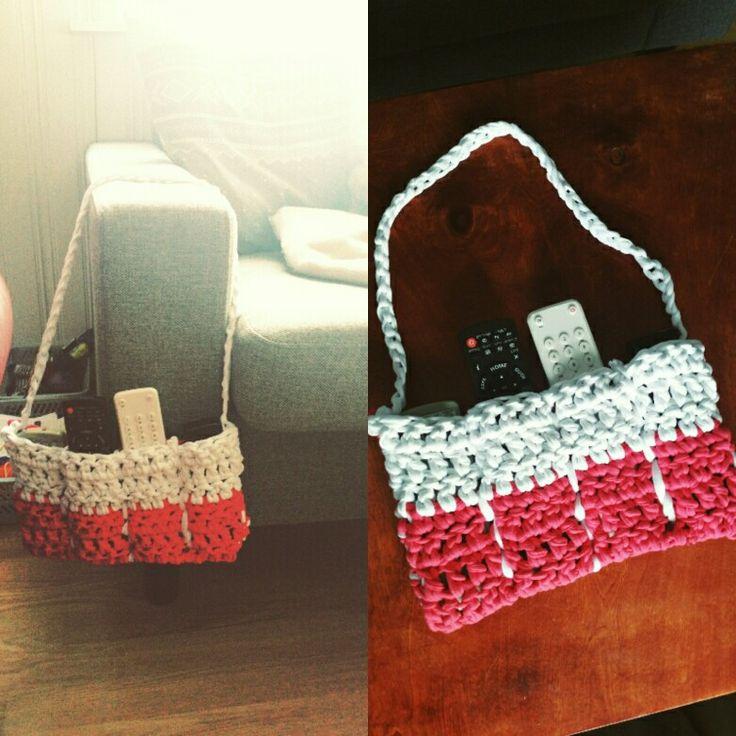 Crochet remote control holder | remoteholder tshirtyarn