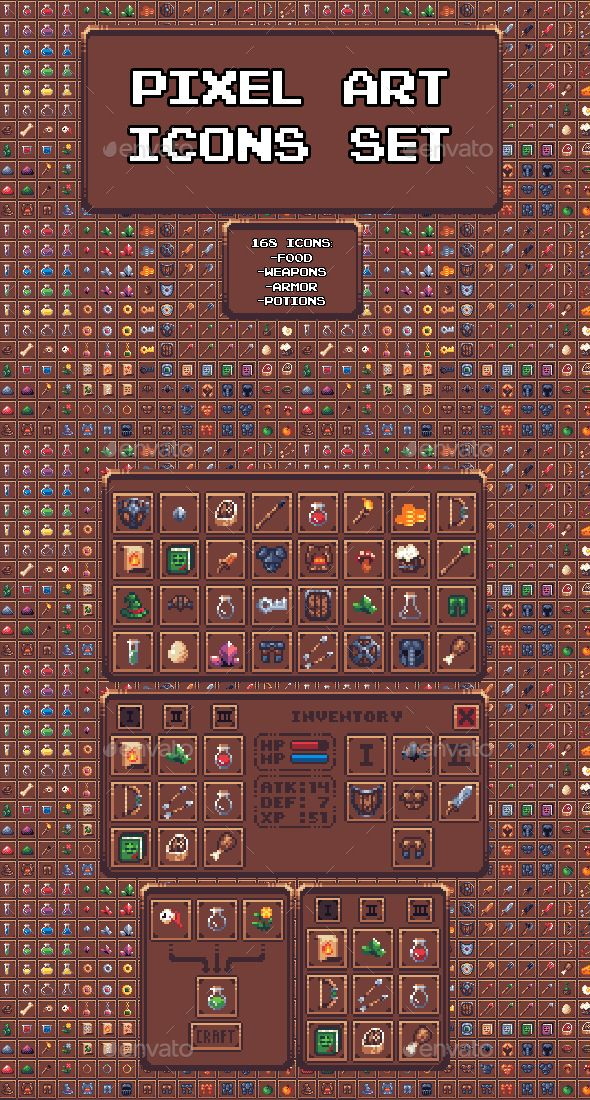 Pixel Art Icon Set Miscellaneous Game Assets In 2019
