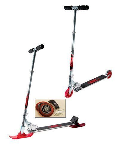 This scooter converts from a traditional wheeled scooter for use on pavement to skis for use on the snow. Finally, a scooter that can be used year around. The wheels and wheel brake included provide great handling and control on paved surfaces. The skis included are designed to turn and carve on... more details available at https://perfect-gifts.bestselleroutlets.com/gifts-for-teens/skates-skateboards-scooters/product-review-for-railz-adult-street-snow-scooter-ride-on-the-pav