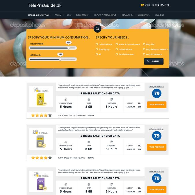 Mobile subscription and phone comparison site by Pinku
