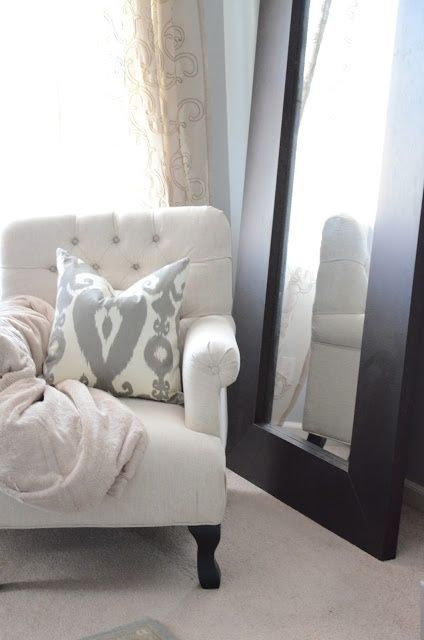 reading nook, gray bedroom, leaning mirror