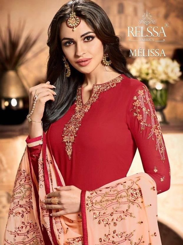 031675c336 Relssa Fabrics Melissa Heavy Designer Straight Georgette with Heavy  Embroidery Work Dress Material Collection at Wholesale Rate