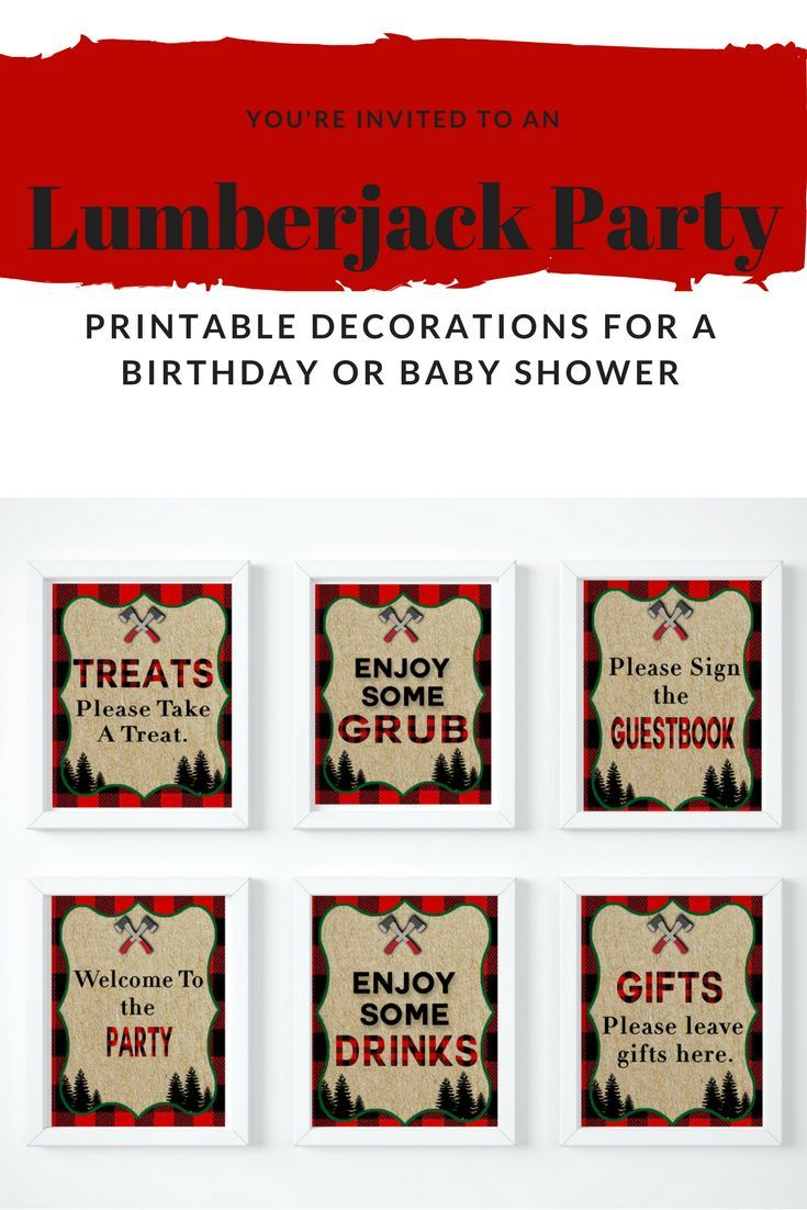 Need boy party ideas? Have a Lumberjack birthday party. These printables also work great for a boy baby shower or for boy's nursery decor. #lumberjack