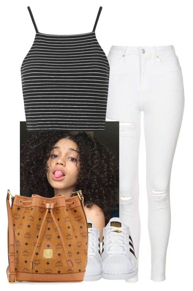 """""""Untitled #114"""" by leshabest ❤ liked on Polyvore featuring Topshop, adidas Originals and MCM"""