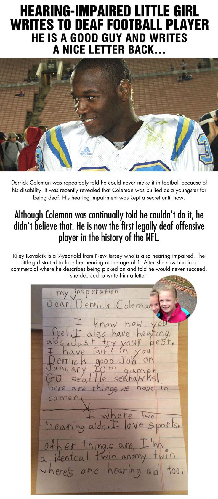 best ideas about hearing impaired deaf culture hearing impaired little girl writes to nfl player derrick coleman this is his response