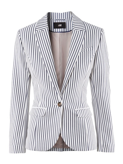 H Blue Striped Blazer: Light Pink Blazers, Ass Fashion, Fashion Ideas, Style, Hm Blazers, Stylish Blazers, Pinstriping Blazers, Blue Stripes, Stripes Blazers M