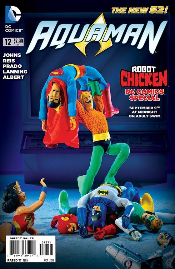 Robot Chicken: Aquaman 12, Robots Chicken, Dc Comics, Comic Books, Book Covers, Variant Covers, Justice League, Chicken Dc, Chicken Variant