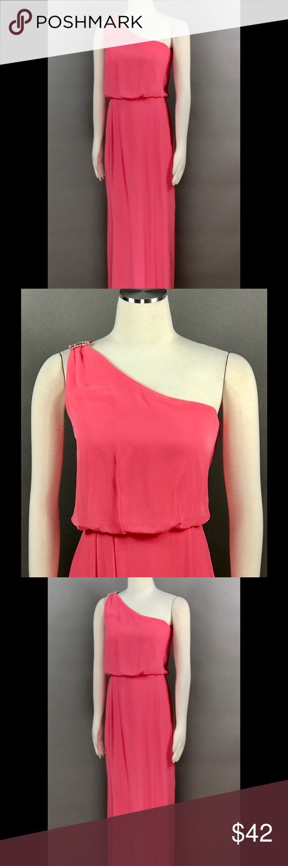 ADRIANNA PAPELL Coral Maxi Dress One Shoulder ADRIANNA PAPELL Coral Maxi Cocktail Dress Sz 14 Chiffon One Rhinestone Embellished Shoulder Drape Tiered NEW Adrianna Papell Dresses Maxi