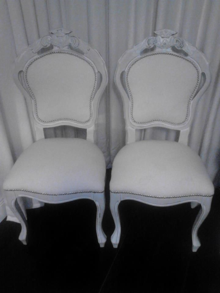 The Wedding Chairs. Total White couple of chair Handpainted and upholstered