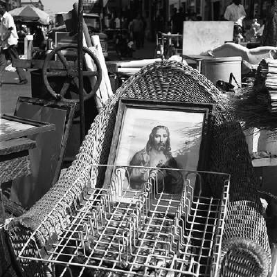 Vivian Maier - Maxwell St., Chicago (Framed Jesus Print, Wicker Chair), 1967
