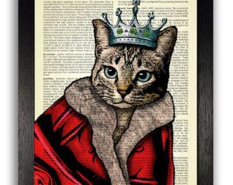 Chat reproduction d'Art - Reine mitaines le troisième, chat affiche, cadeau d'anniversaire pour petite amie, chat Illustration Wall Decor, chaton œuvre d'art, livre d'Art