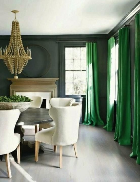 blue walls, green curtain