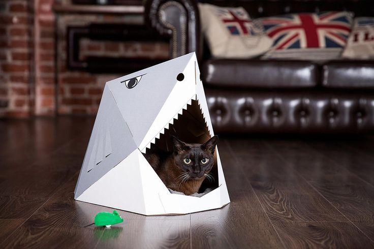 Domek z kartonu dla kota REKIN - Catlando - Legowiska dla kota