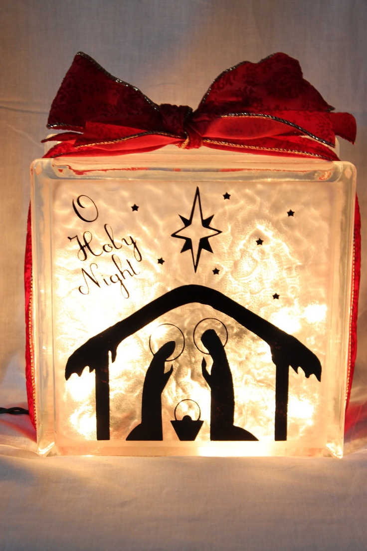 Christmas Santa or Nativity Lighted Glass Block by WorldofAKD