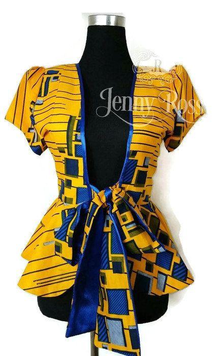 Jennyrossy veste africain Ankara cravate blazer imprimé