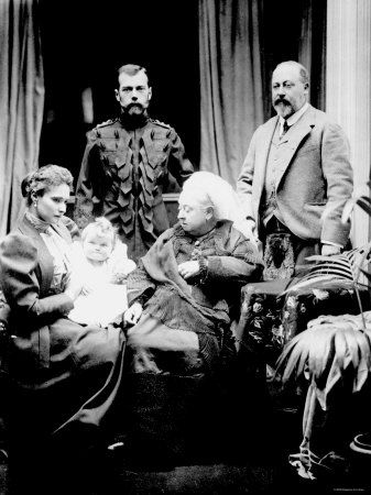 Empress Alexandra, Tsar Nicholas II, Grand Duchess Olga, Queen Victoria, and Prince Albert at Balmoral  (1896)