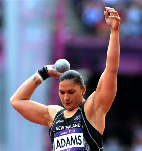 New Zealand's Valerie Adams in action during the Women's Shot put qualifying at The Olympic Stadium (© EMPICS Sport)