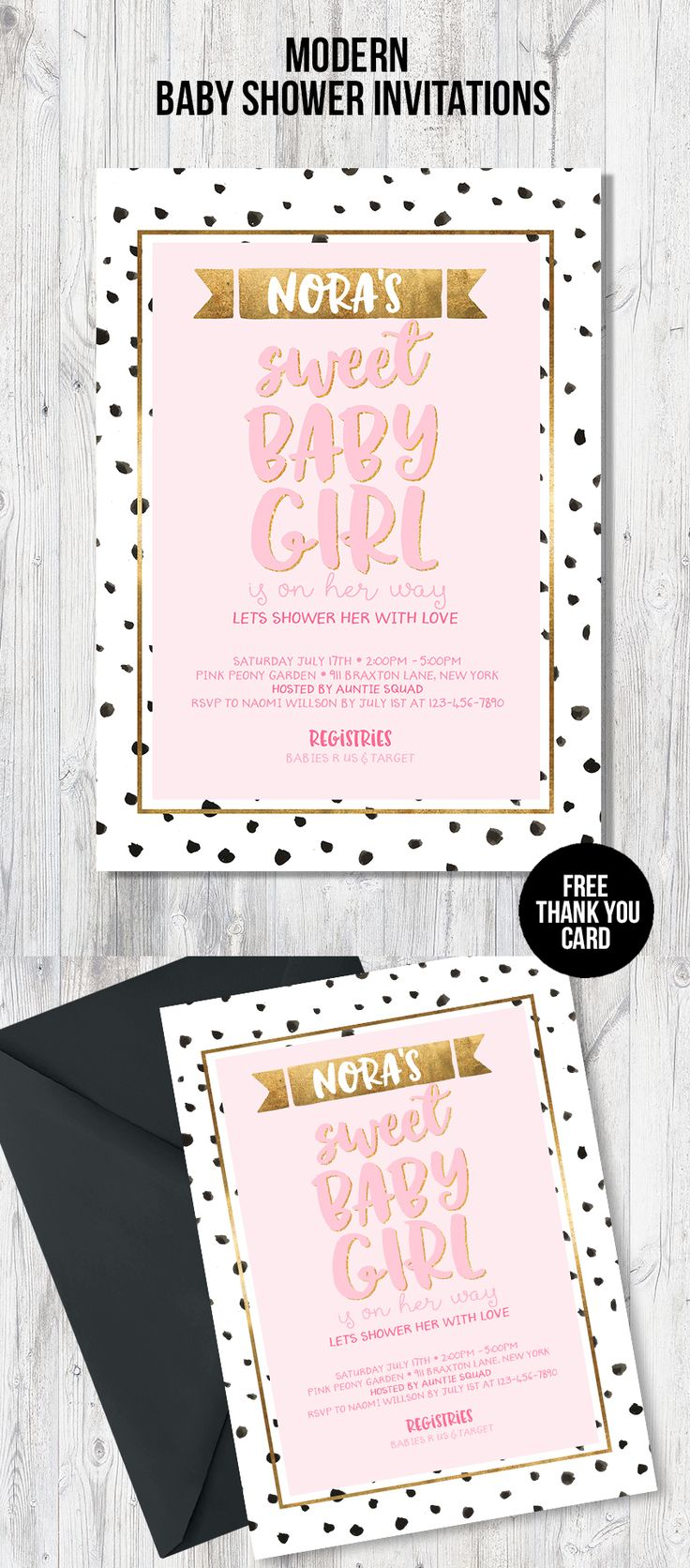bridal shower invitations registry etiquette%0A Baby shower invitation for your DIY baby shower  We offer matching party  decorations and games