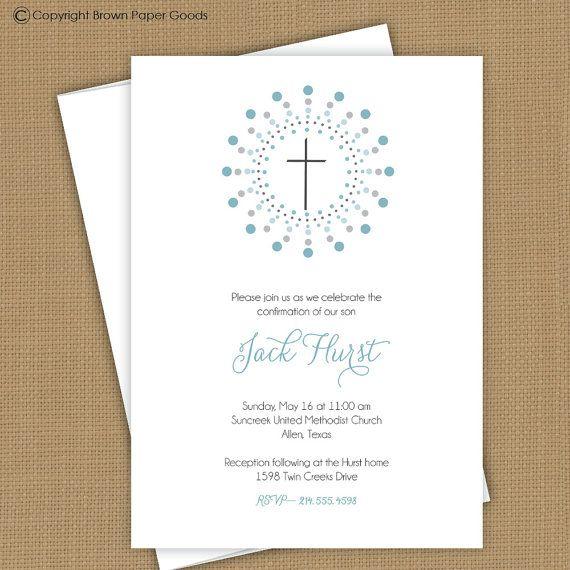 Confirmation invitation. First Communion invitation, Baptism invitation. Christening announcement. boy or girl on Etsy, $15.00