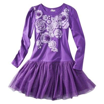 Circo® Girls' Long-Sleeve Glitter Dress - Purple