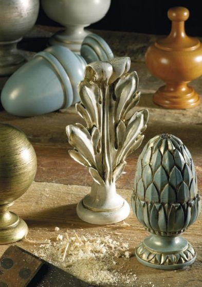 These beautiful hand carved curtain finial are still being produced using time honoured methods by the craftsmen at Byron and Byron. #curtainpoles #interiordesign