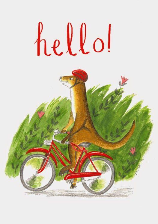 Weasel on a bike, new card design.