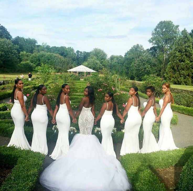 Wedding Party Dressed In All White