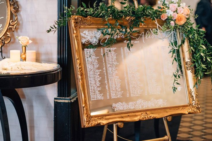 Mirror Seating Chart styled by Designed Dream Event Planner.