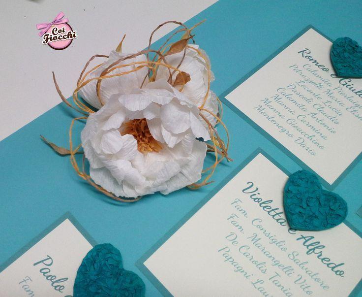 Tableau mariage Tiffany e avorio: dettaglio delle peonie in filo di carta