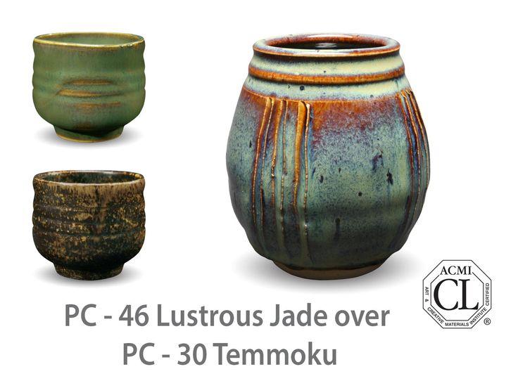 AMACO Potter's Choice layered glazes PC-30 Temmoku and PC-46 Lustrous Jade.