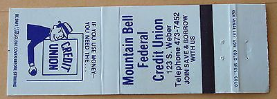 Mountain Bell Federal Credit Union, Colorado Springs, Colorado  Matchbook Cover