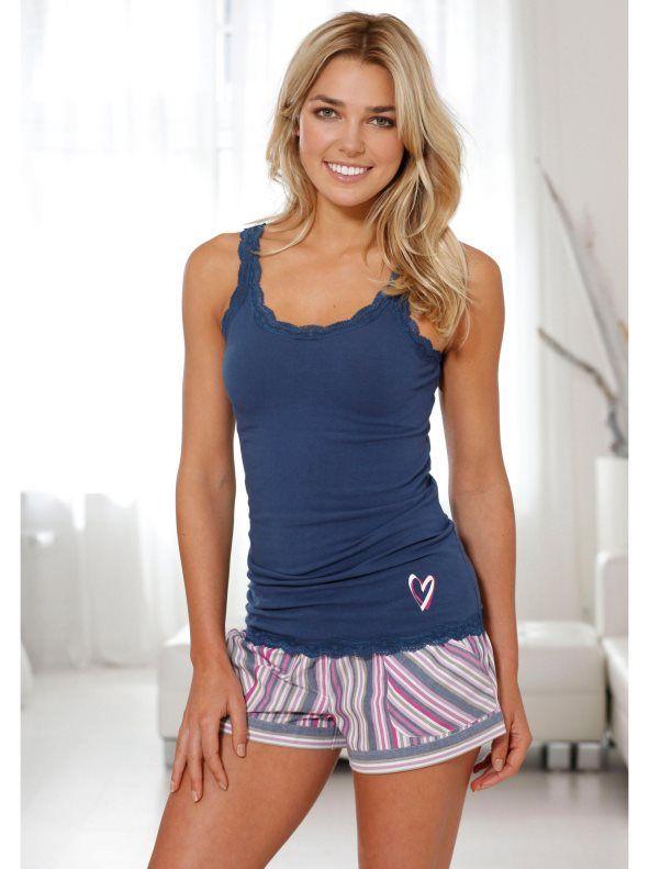 Top pijama algodón extensible encaje mujer BUFFALO