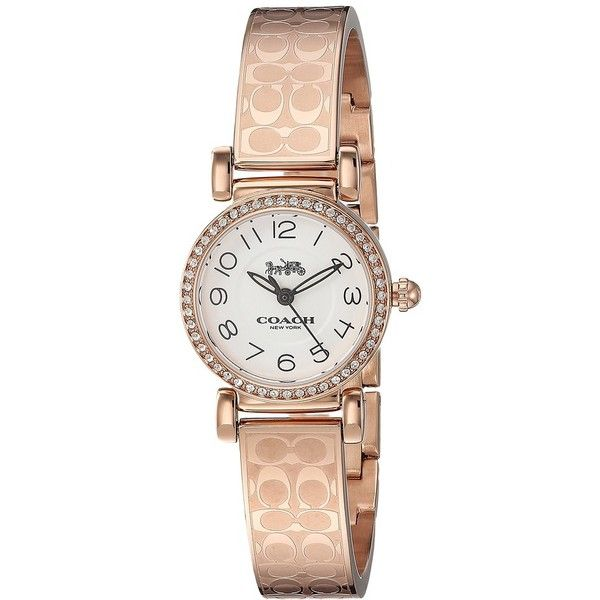 COACH Madison Bangle - 14502872 (White) Watches ($250) ❤ liked on Polyvore featuring jewelry, watches, military style watches, quartz movement watches, white watches, coach wrist watch and white jewelry