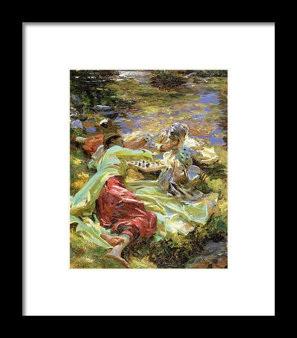 The Framed Print featuring the painting The Chess Game by Sargent John Singer