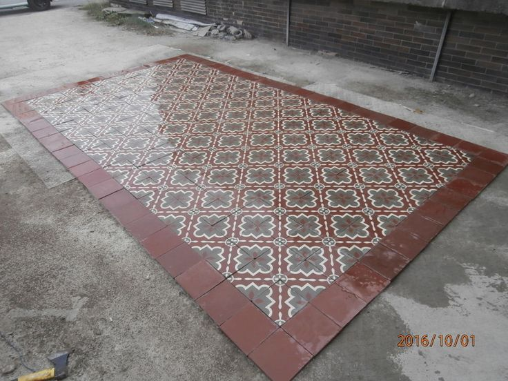 Really old Victorian floor tiles - set of 230 tiles - 9,2sqm of surface