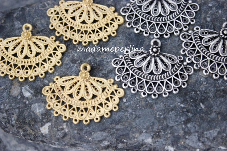 1 Fan connector chandelier pendant earrings link matt gold or silver plated over brass  turkish Jewelry supplies findings mdla362 by madameperlina on Etsy
