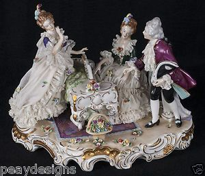 Dresden Porcelain Figurine Lace Grouping Display 2 Women Man Piano Playing | eBay