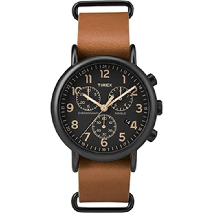 Timex Weekender® Chrono Oversized Watch - Black Dial-Brown Strap. Weekender® Chrono Oversized Watch - Black Dial/Brown StrapYou just found the only watch youll ever need. A timeless chronograph that lets you change up leather and nylon straps for the season, the occasion or even your mood.Features: Iconic Versatile Design Leather NATO Style Slip-thru Strap Chronograph Measures to 1/20th Second 30 Meter Water Resistance INDIGLO® Night-Light Date Feature Specifications: Attachment Type…