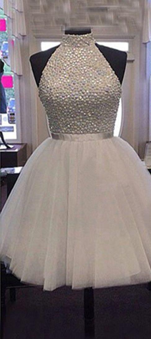 2016 homecoming dress, short homecoming dress, white homecoming dress, high neck…