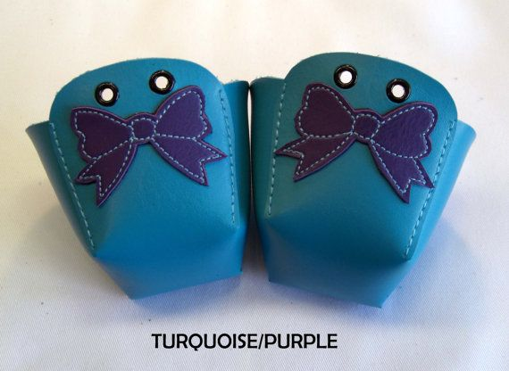 VEGAN leather Roller Derby skate toe guards with Bows by RedRage77, £20.00