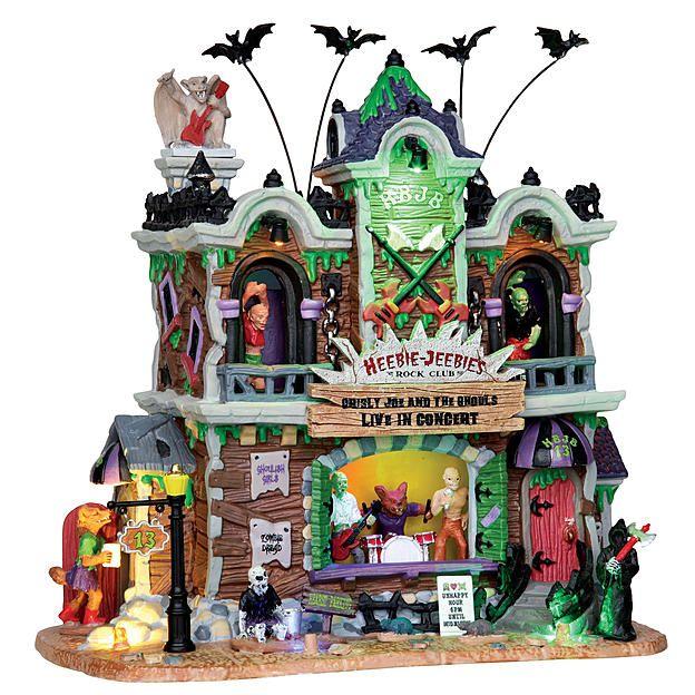 lemax spooky town collection heebie jeebies rock club with 45v adaptor halloween villagehalloween decorationshalloween miniaturesdepartment - Miniature Halloween Decorations