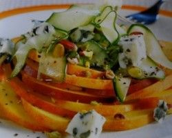 http://notjustoliveoil.com/2013/05/the-boost-your-mood-salad-peaches-and-cucumbers-with-roquefort-cheese/