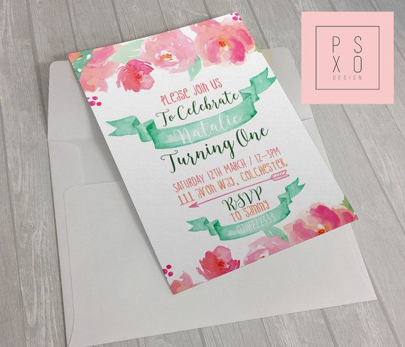 First Birthday Invite  Baby Girl  Watercolour Floral by PSXODesign