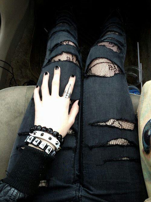 grunge alternative fashion style denim jeans ripped jeans black lace alternative jewellery