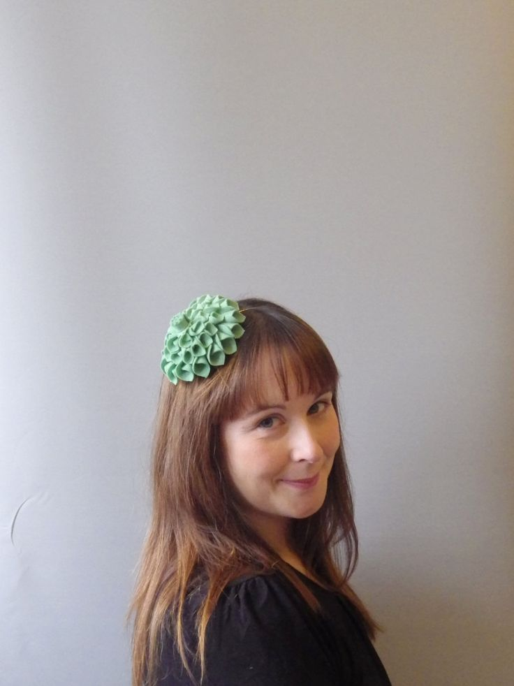 Sage Green Fascinator Hair Accessory with felt flower dahlia. Flower headband also for bridesmaids / flowergirls /races / Derby by SophieShields on Etsy